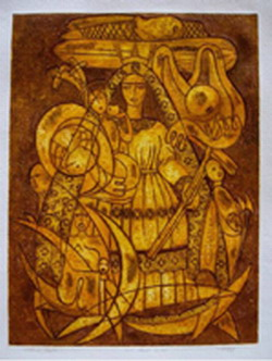 Cuban Madonna, a chalcography work