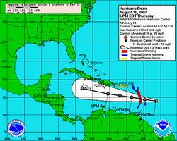Bulletin Hurricane Dean Advisory number 14, Hurricane Dean rapidly approaching the Lesser Antilles with 100 mph winds