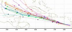 Dangerous Hurricane Dean racing westward across the Caribbean