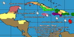 Bulletin Hurricane Dean intermediate advisory number 21a, core of Hurricane Dean passes well south of Puerto Rico