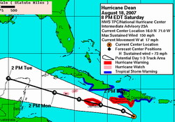 Dean intermediate advisory number 23a, Center of Dean passing south of the Dominican Republic.