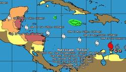 Hurricane Felix passing north of Aruba