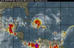 Hurricane Ike weakened to a Category 2 storm after making landfall in northeastern Cuba