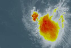 Tropical storm Ingrid well east of the Lesser Antilles moving west-northwestward