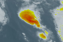 Jerry weakens to a depression as it heads for cooler waters