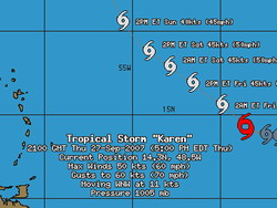 Tropical Storm Karen nears hurricane strength