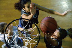 Basketball girls playing