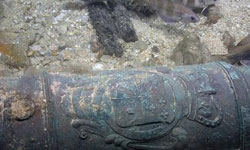 A bronze cannon, the first of its type discovered in the oceans surrounding Cuba found by fishermen