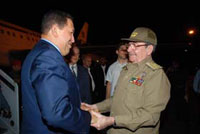 Venezuelan President Hugo Chavez arrived in Cuba on an invitation by President Raul Castro.