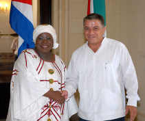 Nkosazana Dlamini Zuma South African Foreign Minister on Oficial Visit to Cuba