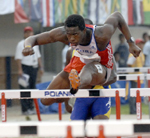 Dayron Robles of Cuba did not threaten Liu Xiang of China in the mens 60 hurdles