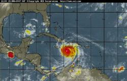 Bulletin Hurricane Dean intermediate advisory number 25a , Outer bands of Dean about to reach Jamaica.