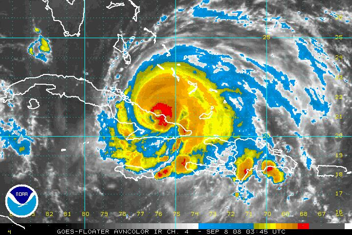 Infrared satellite image of Ike entering Cuba