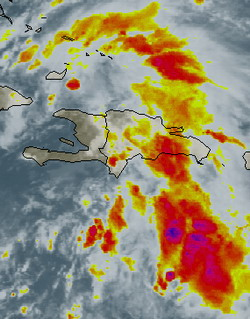 Center of disorganized Noel about to emerge off the north coast of Haiti, new warnings issued for the Bahamas