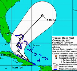 Storm Noel intensifies, tracks Cuba's northeast coast