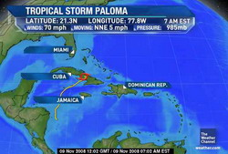 Paloma weakening over Cuba