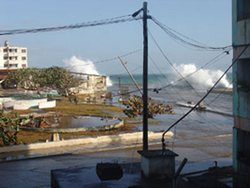 The tropical storm Hanna caused sea flooding in Holguin Cuba