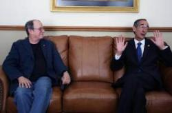 Silvio Rodriguez Cuban singer-songwriter in a private audience with Guatemalan President.
